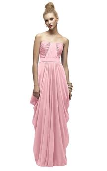 Chiffon Strapless Long Dress With Ruching