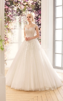 Ball Gown Floor-Length V-Neck Cap-Sleeve Corset-Back Lace Dress With Appliques