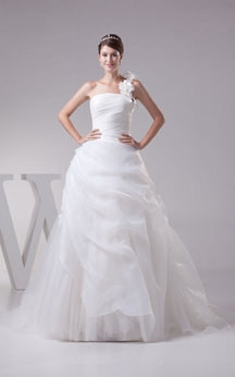 One-Shoulder Ruched A-Line Dress With Flower and Corset Back