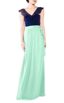 Falbala V-neck Chiffon Long Bridesmaid Dress