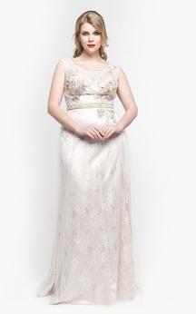 White Scoop Neck Sleeveless Sheath Lace Long Dress