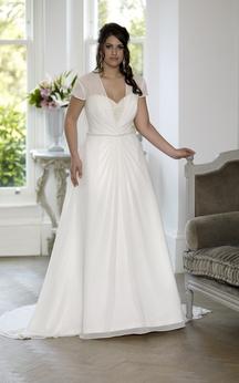 A-Line Floor-Length Sweetheart Short Sleeve Chiffon Satin Court Train Lace-Up Back Beading Dress