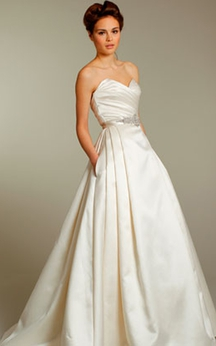 Sexy Pleated Bodice Side Draped Ball Gown With Crystal Beaded Belt