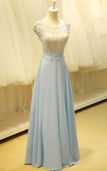 Floor-length Scoop Appliques Keyhole Chiffon Dress