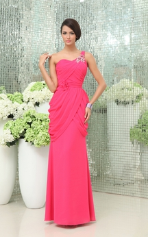 Graceful One-Shoulder Sheath Gown Floral Waist