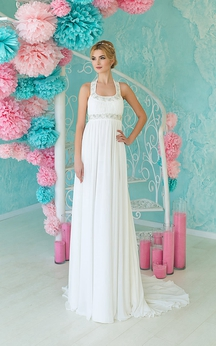 A-Line Floor-Length Halter Sleeveless Empire Lace-Up Chiffon Dress With Beading And Pleats