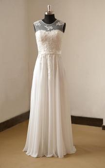 Jewel Neck Sleeveless A-Line Pleated Chiffon Dress With Lace Bodice