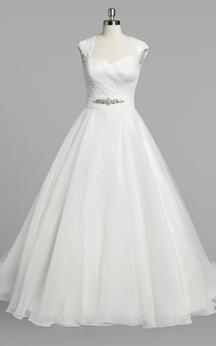 Queen-Anne Neck Cap Sleeve A-Line Organza Wedding Dress With Ruching and Beading