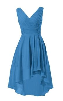 Sleeveless V-neck Ruched Bodice High-low Chiffon Dress