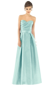 Satin A-Line Gown With Crisscross Ruching