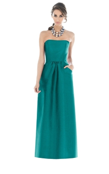 Satin Floor-Length Strapless Dress With Pockets