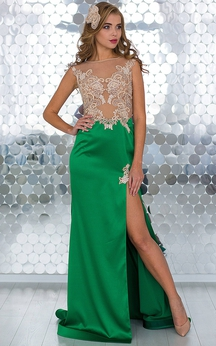 A-Line Sweep Jewel Short Sleeve Empire Chiffon Ruffles Beading Lace-Up Dress