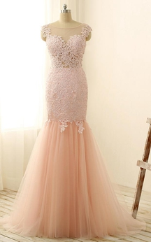 Mermaid Long Appliques Zipper Tulle Lace Dress