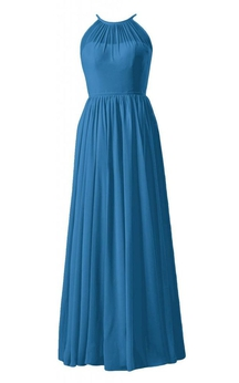 Sleeveless High Neck Bodice Long Pleated Chiffon Dress