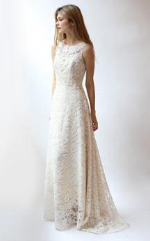 Jewel Neck A-Line Sleeveless Lace Dress With Low-V Back