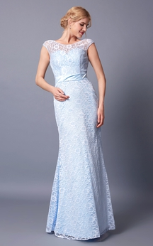 Demure Cap Sleeve Jewel Neck Long Lace Dress With Sash