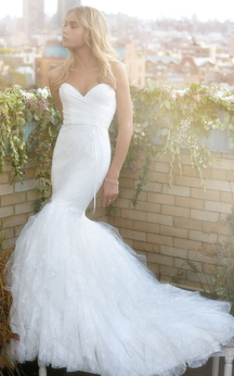 Angelic Lace Tulle Mermaid Dress With Draped Sweetheart Bodice