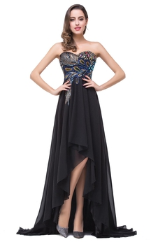 Newest Black Chiffon Peacock 2016 Prom Dress Hi-Lo Sweep Train