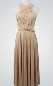 Criss Cross Top A-line Pleated Jersey Knee Length Dress With Sash