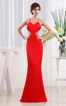 Satin Sheath Dress With Beading and Keyhole