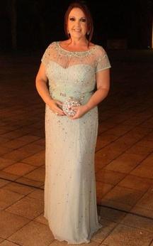 Jewel Neck Short Sleeve Sheath Chiffon Long Dress With Beadings