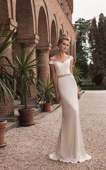 Off-the-shoulder V-neck Crystal Decorated Sheath Dress