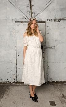 Off-The-Shoulder Short Sleeve A-Line Lace Tea Length Dress