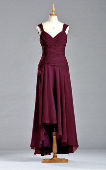 Sleeveless Tea-length Chiffon Dress with V Neckline