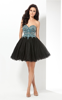 A-Line Short Sweetheart Sleeveless Tulle Ruffles Crystal Detailing Backless Dress