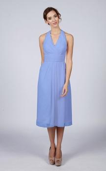 Halter V Neck A-line Chiffon Tea Length Dress Kingfisher Blue
