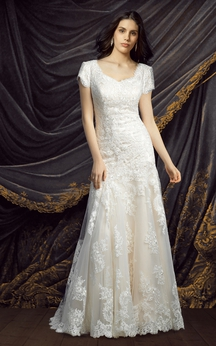 A-line Lace Short Sleeve Wedding Gown