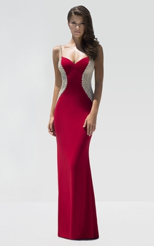 Sheath Floor-Length Spaghetti Sleeveless Jersey Beading Backless Dress