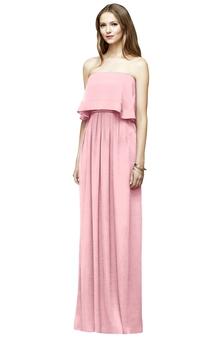 Long Chiffon Column Stylish Strapless Dress