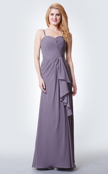 Spaghetti Strap Ruched Long Chiffon Dress With Side Split