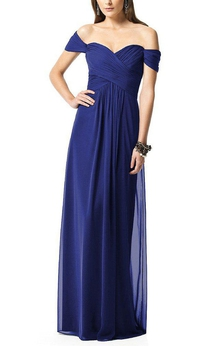Off-the-shoulder Sweetheart Ruched Long Bridesmaid Dress