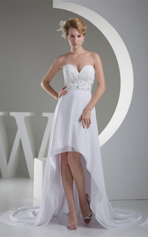 Sweetheart High Low A-Line Ruched Dress With Jeweled Sash
