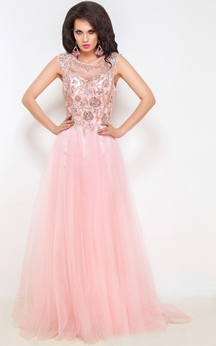 A-Line Floor-Length Sweep Jewel Short Sleeve Tulle Beading Pleats Keyhole Dress