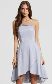 Beading Neckline Short High-Low Scalloped Dress