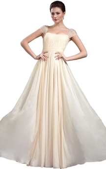 Cap-sleeved Square Neck A-line Chiffon Gown