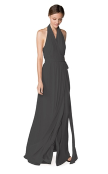 Fabulous Halter Sleeveless Floor-length Chiffon Dress With Keyhole Back