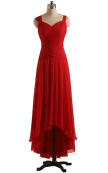 Queen Anne High-low Dress With Draping and Ruching