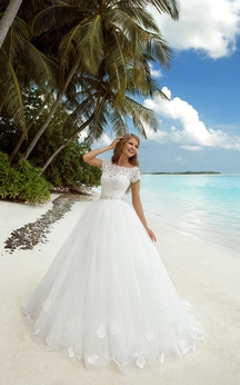 A-Line Maxi Bateau-Neck Long-Sleeve Tulle Dress With Beaded