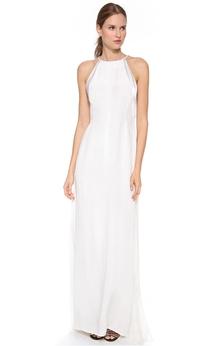 Long Jewel Pleated Sheath Chiffon Dress
