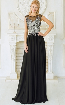 Empire Floor-Length Sweep Bateau Sleeveless Empire Chiffon Appliques Dress