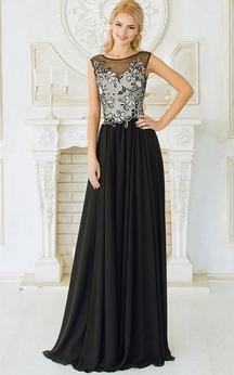 Empire Floor-Length Sweep Bateau Sleeveless Empire Chiffon Appliques Dress