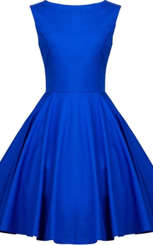 Cap-sleeved A-line Short Dress With Bateau Neck