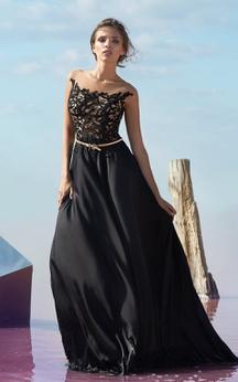 A-line Floor-length Bateau Short Sleeve Chiffon Button Dress