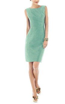 Open Back Sleeveless Satin Sheath Short Dress with Bow