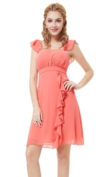 Cap-sleeved Short Chiffon Dress With Ruffles
