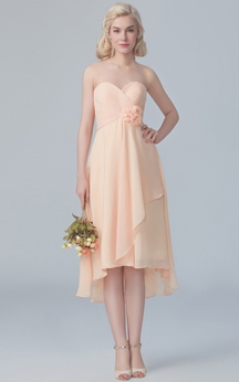 Short Chiffon Side Drap High-Low Dress With Flowers